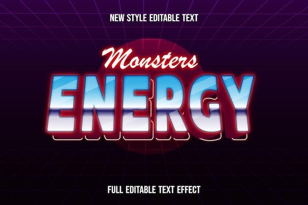 Effetto testo mostri energia su gradiente blu bianco e rosso