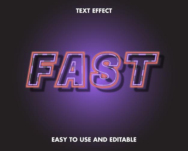 Effetto testo - neon veloce. stile carattere modificabile.
