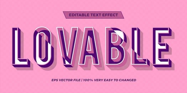 Effetto di testo in colori pastello amorevole parole testo effetto tema modificabile concetto retrò