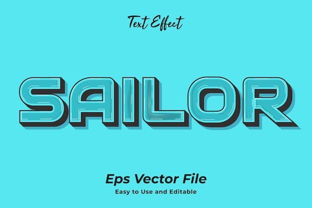 Effetto testo marinaio modificabile e facile da usare vettore premium