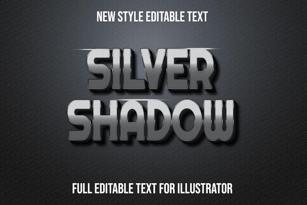 Testo effetto argento ombra colore argento e sfumatura nera