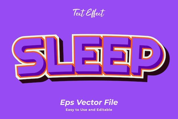 Effetto testo sleep modificabile e facile da usare vettore premium