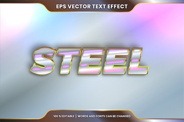 Effetto testo in parole in acciaio, stili di carattere tema modificabile in metallo oro e argento