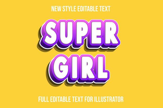 Effetto testo super girl colore bianco e rosa sfumato