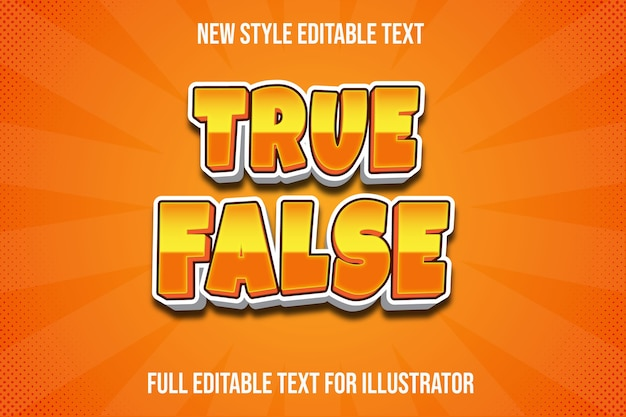 Effetto testo vero falso colore arancione e sfumatura bianca