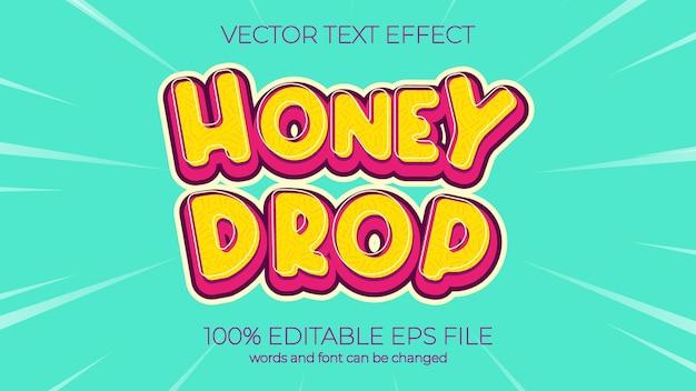 Effetto testo illustrazione vettoriale, effetto testo goccia di miele