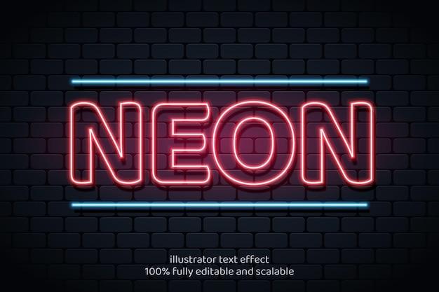 Effetto testo con stile neon realistico