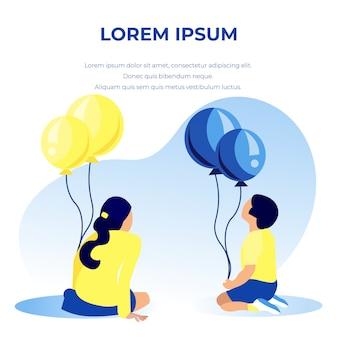 Biglietto di auguri di testo con palloncini hold bambini. buon compleanno
