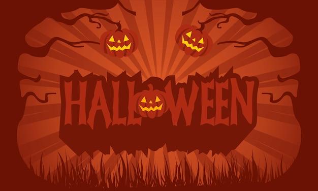 Testo happy halloween con zucche Vettore Premium