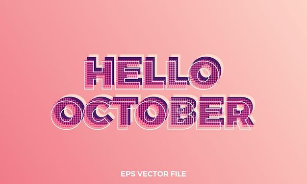 Testo ciao ottobre creativo