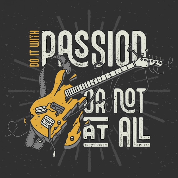 Citazione del testo ed illustrazione rotta della chitarra