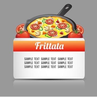 Modello di testo con cibo frittata