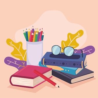 Libri di testo e matite