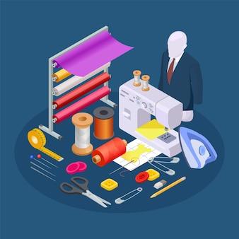 Composizione dell'industria tessile. vettore di cucito isometrico. collezione laboratorio di cucito
