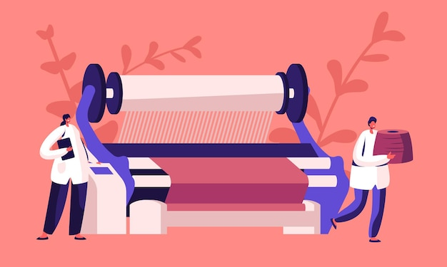 Fabbricazione di macchinari tessili. cartoon illustrazione piatta