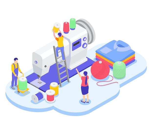 Composizione isometrica nell'industria di filatura del laminatoio tessile con i piccoli caratteri dei lavoratori sopra l'illustrazione della macchina per cucire