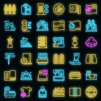 Set di icone di produzione tessile. delineare l'insieme delle icone vettoriali di produzione tessile colore neon su nero
