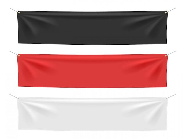 Banner realistico tessile s. insegne vuote del tessuto delle bandiere, insieme d'attaccatura dell'illustrazione del modello del cartello dello spazio in bianco della tela. tessuto vuoto, banner orizzontale in tela rossa e nera