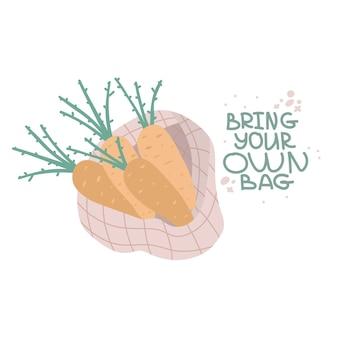 Pacchetto di acquisto di tessuti pieno di prodotti alimentari degli agricoltori in illustrazione disegnata a mano di borsa di tela ecologica