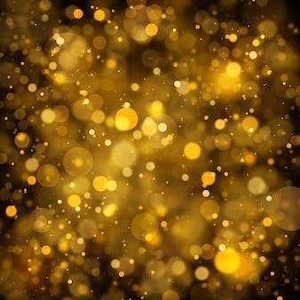Texture sfondo astratto nero e oro glitter ed elegante per natale polvere bianca particelle di polvere magiche scintillanti concetto magico sfondo astratto con effetto bokeh vector