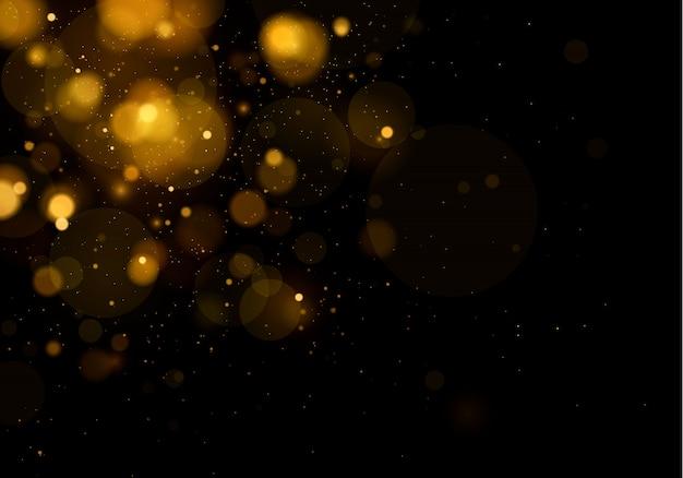 Trama di sfondo astratto nero e oro glitter ed elegante polvere bianca. particelle di polvere magica scintillante concetto magico sfondo astratto con effetto bokeh. Vettore Premium