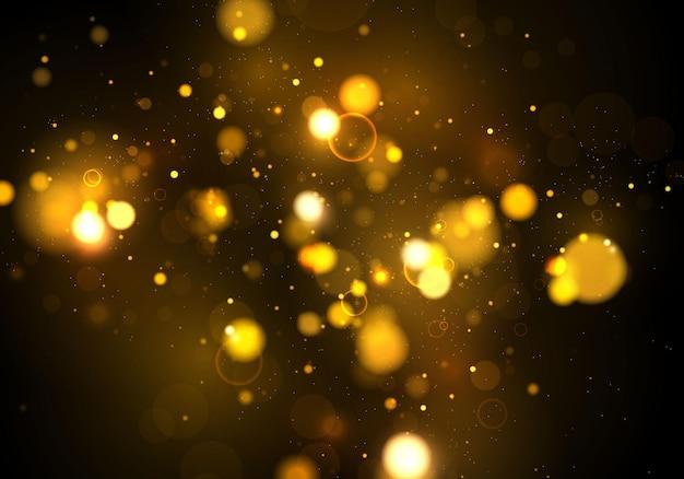 Texture sfondo astratto nero oro bianco glitter ed elegante per natale particelle di polvere magiche scintillanti d'oro concetto magico sfondo astratto con effetto bokeh vector Vettore Premium