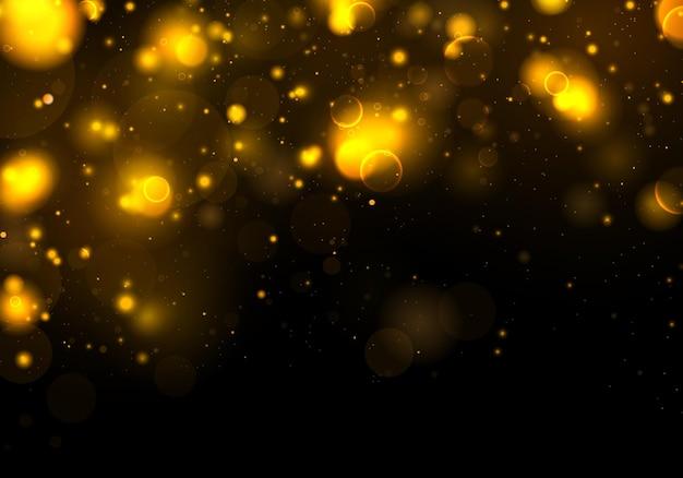 Texture sfondo astratto nero, oro, bianco. glitter ed elegante per. particelle di polvere magiche scintillanti d'oro. concetto magico. sfondo astratto con effetto bokeh. Vettore Premium