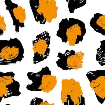 La trama delle macchie di leopardo. motivo leopardato per i tessuti. macchie giallo-nere su fondo bianco.