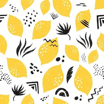 Modello senza cuciture strutturato con limoni e ornamento etnico. motivi tribali tropicali. per stampe, abiti, camicie, qualsiasi tessuto, biglietto di auguri
