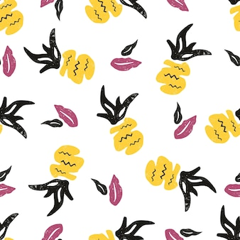 Modello senza cuciture strutturato con ananas e foglie. motivi tribali tropicali. per stampe, abiti, camicie, qualsiasi tessuto, biglietto di auguri