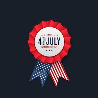 Il distintivo di luglio ha isolato l'illustrazione di vettore dell'etichetta del giorno dell'indipendenza dell'america