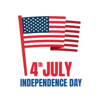 Th di luglio banner festa dell'indipendenza americana celebrazione sfondo vettoriale con una bandiera americana