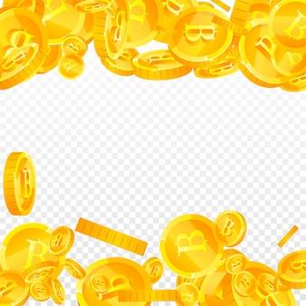 Caduta delle monete in baht tailandese. deliziose monete thb sparse. soldi thailandesi. autentico jackpot, ricchezza o concetto di successo. illustrazione vettoriale.