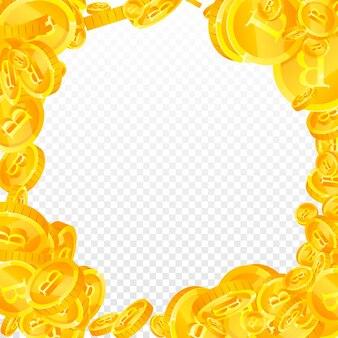 Caduta delle monete in baht tailandese. fantastiche monete thb sparse. soldi thailandesi. autentico jackpot, ricchezza o concetto di successo. illustrazione vettoriale.