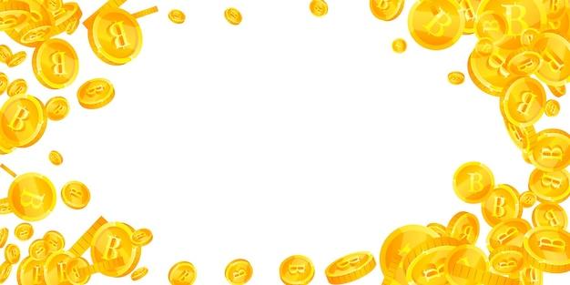 Caduta delle monete in baht tailandese. monete thb sparse vivaci. soldi thailandesi. maestoso jackpot, ricchezza o concetto di successo. illustrazione vettoriale.