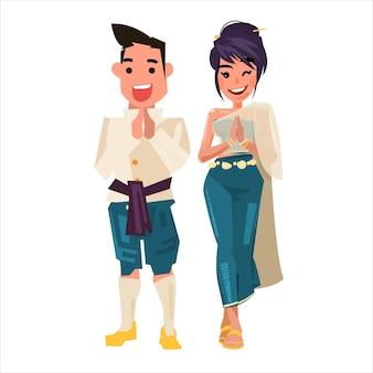 Personaggio tailandese uomo e donna
