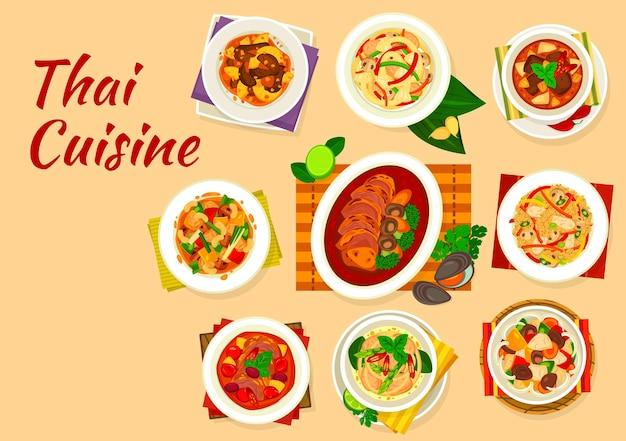 Piatti della cucina tailandese di carne e set di cibo vegetale