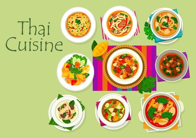 Cucina tailandese con piatti asiatici di curry e riso con verdure