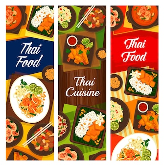 Cucina thailandese, set di banner verticale