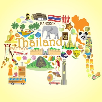 Elefante thailandese seticons e simboli della thailandia