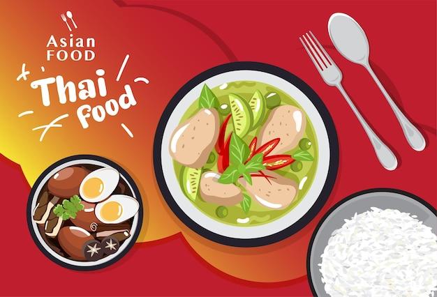 Set di cibo tailandese tradizionale, illustrazione del menu di cibo asiatico