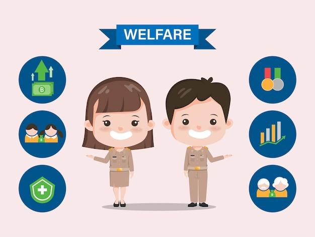 Benefici per il benessere del governo thailandese. carattere di insegnante tailandese di infografica siam bangkok.
