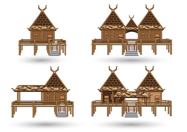 Modello di casa tailandese fatta dal vettore