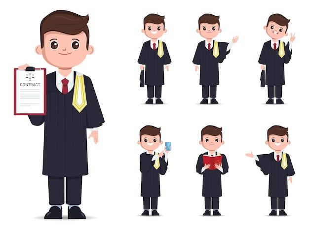 Avvocato thailandese set di caratteri per le professioni legali disegno vettoriale di avvocato piatto dei cartoni animati