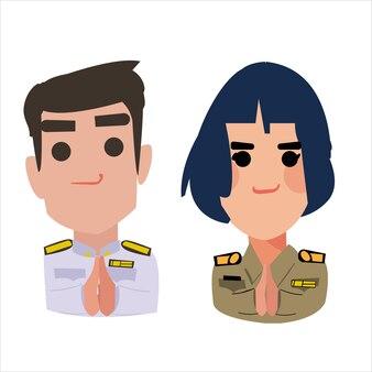 Gesto di saluto dell'ufficiale tailandese