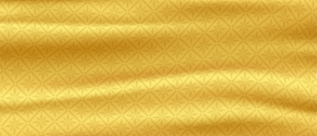 Modello tailandese sfondo di seta dorata onde di raso oro vector