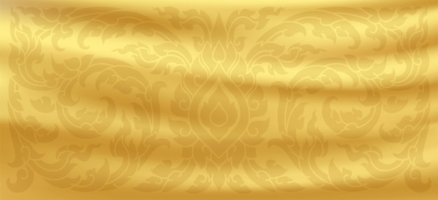 Modello tailandese. sfondo di seta dorata. onde di raso oro. vettore