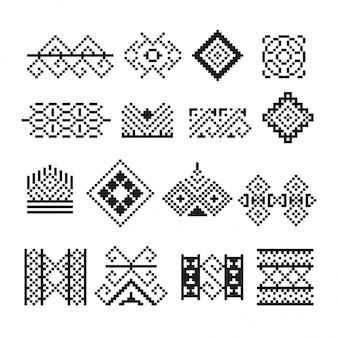 Ornamento tailandese pixel, set