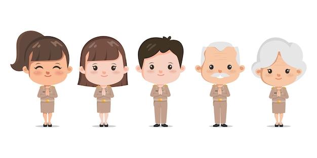Saluto dell'insegnante tailandese con namaste o wai tailandese. persone con carattere di lavoro governativo.