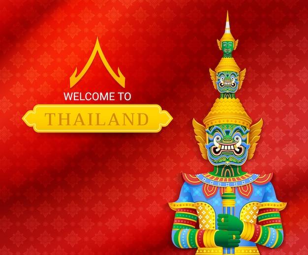 Illustrazione gigante del guardiano del tempio tailandese